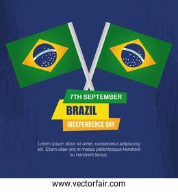 7 september, banner of celebration brazil independence day with flags