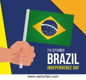 7 september, celebration brazil independence day, and hand with flag