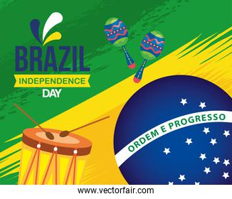 7 september, celebration brazil independence day with drum and maracas