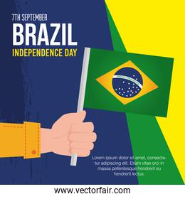 7 september, banner of celebration brazil independence day, and hand with flag
