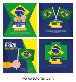 collection of, 7 september, banners of celebration brazil independence day