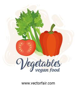 banner with vegetables, concept vegan food, celery with tomato and pepper