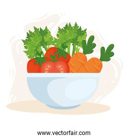 healthy food concept, fresh vegetables in bowl