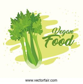 banner with vegetables, concept vegan food, with fresh celery