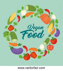 poster with vegetables, concept vegan food, frame circular with vegetables