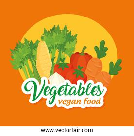 banner with vegetables, concept vegetables and vegan food, with set of vegetables