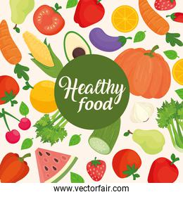 cartel with vegetables and fruits, concept healthy food