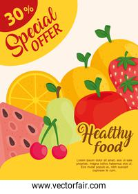 special offer sale advertising poster, of fresh fruits