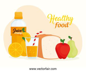 healthy food, fruits with bread and juice bottle