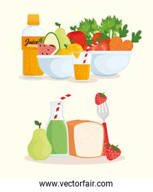 healthy food, vegetables, fruits, bread and juices bottled
