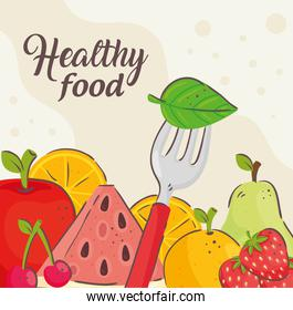 banner of healthy food, with fresh fruits