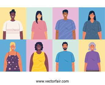 multiethnic portraits people together, diversity and multiculturalism concept