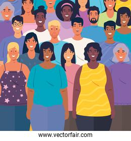 multiethnic group of people together background
