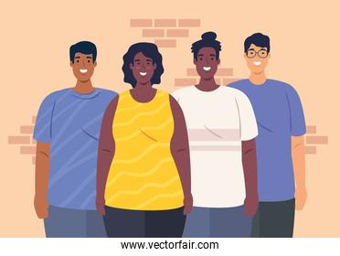 multiethnic together, diversity and multiculturalism concept