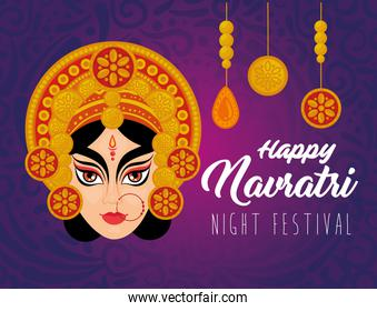 happy navratri celebration poster with durga face and decoration