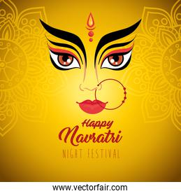 happy navratri celebration poster with durga face on yellow background