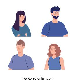 group young people, women and man on white background