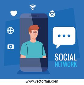 social network, young man with smartphone and social media icons