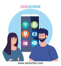 social network, couple and smartphone with social media icons