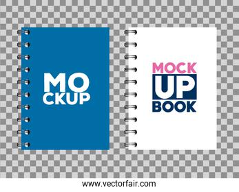 corporate identity branding mockup, mockup with notebooks of cover blue and white color