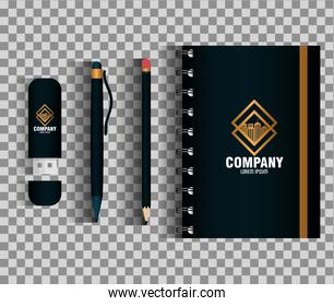 corporate identity brand mockup, set business stationery, black mockup with golden sign