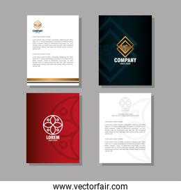 corporate identity brand mockup, folders and documents of red and black mockup