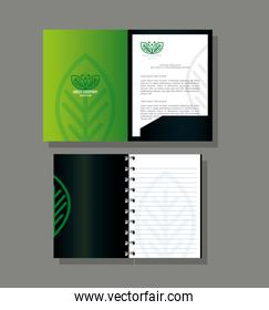 corporate identity brand mockup, notebook and brochure green mockup, green company sign