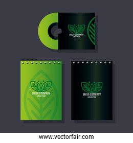 corporate identity brand mockup, notebooks and cd green mockup, green company sign