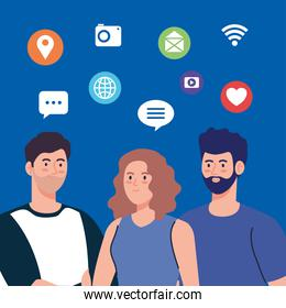 people and social network community, interactive, communication and global concept