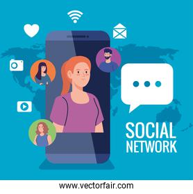 social network, people with smartphone and social media icons, interactive, communication and global concept
