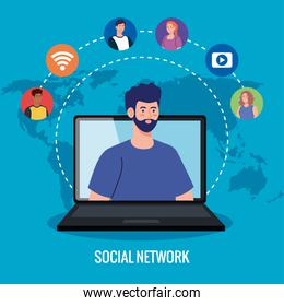 social network, people connected in laptop, interactive, communicate and global concept