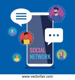 social network, people connected by smartphone, communicate and global concept