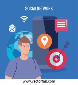 social network, man with smartphone, communicate and global concept