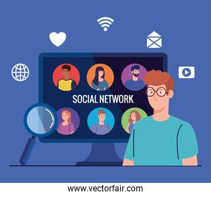 social network, people connected in computer, interactive, communicate and global concept