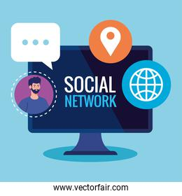 social network, man connected in computer, communication and global concept