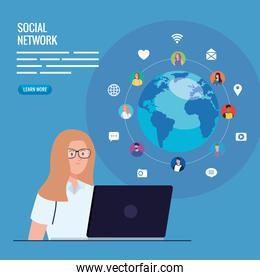 poster of social network, woman connected in laptop, communication and global concept