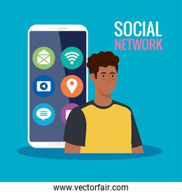 social network, young man in smartphone with social media icons