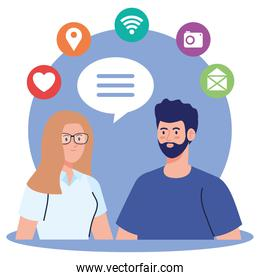 social network, young couple and social media icons, global communication concept