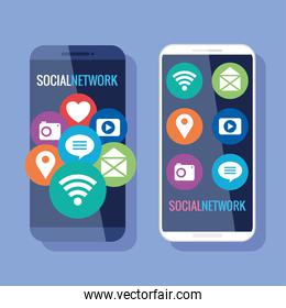 social network, smartphones with social media icons
