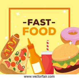 fast food poster, with set of delicious fast food