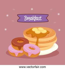 breakfast poster, pancakes with donuts