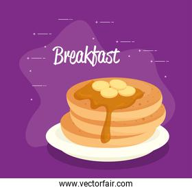 breakfast poster, pancakes with syrup