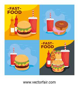 set of posters, delicious fast food