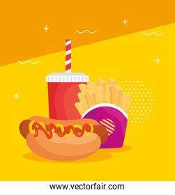 fast food, hot dog with potatoes french fries and bottle drink