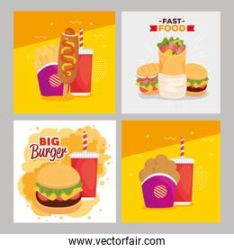 set poster of delicious fast food