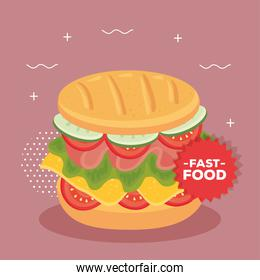 fast food poster, with delicious sandwich