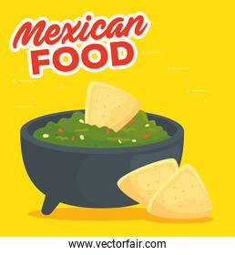 fast food poster, guacamole with nachos