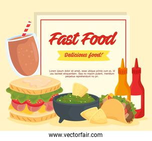 fast food poster, guacamole with sandwich and foods