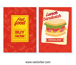 set poster fast food buy now and sandwich