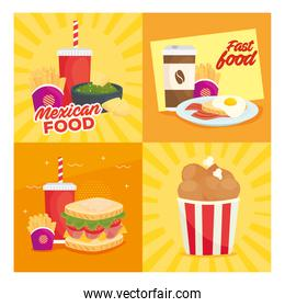 set of poster of delicious fast food